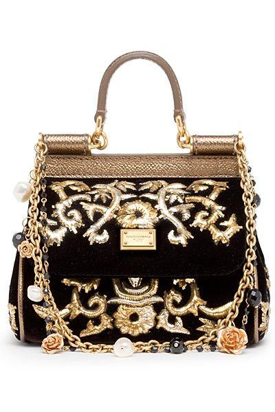 8/2/16. Notes: Dolce and Gabbana Pre- Fall 2012. Sicily Black and Gold Handbag Purse.