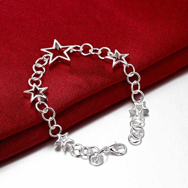 Браслет Серебряный, Позолоченный Браслет Серебряные ювелирные изделия звезды ювелирные изделия оптом бесплатная доставка ooiu LH178