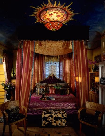 Opulent Bohemian style bedroom....Oh yes, this would be my bedroom style..in a room about 500 square will do, with two french doors overlooking the beach...thank you very much! :)...Oh, and yes, the dogs DO sleep on the bed!