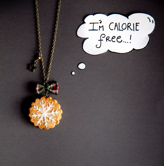 Chocolate filled Snowflake Cookie Necklace / food by Ilianne