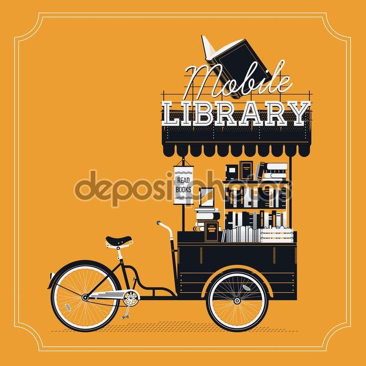 Carrinho de bicicleta vector adorável biblioteca móvel em fundo vintage. Carrinho reboque moto livro portáteis, sobre rodas, com livros empilhados, toldo e sinal. Mercado de livro ou artigo decorativo justo Confira as nossas recomendações!