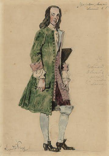Александр Бенуа - Costume design for a courtier in Merezhovsky's 'Tsarevich Aleksei'