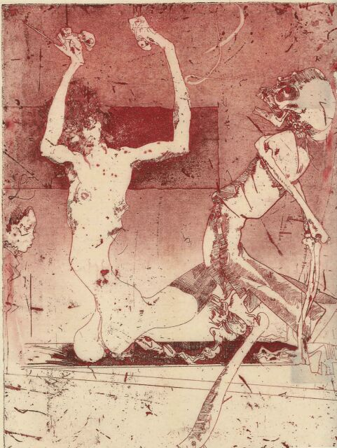 """Horst Janssen, """"Erostod""""  Radierung Nr. 7"""