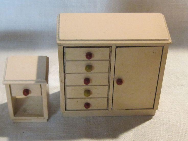 Vintage 1930s 1:12 scale Strombecker wooden dollhouse nursery set | eBay