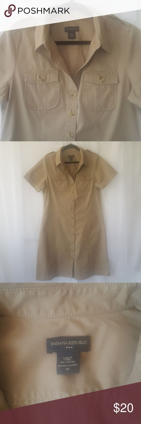 Banana Republic khaki safari dress sz 14 Banana Republic khaki safari button down dress  in excellent condition.  Please see photos for flat lay measurements. Thank you for checking! Do not forget to look at all other goodies I have in my closet. Happy Poshing!!! 😊🍉🎈♥️🎼 Banana Republic Dresses