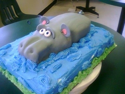 Hippo Cake - Base is 1/4 sheet b/c icing.  Hippo is regular loaf pan on back and mini loaf was used for his nose then covered in fondant.