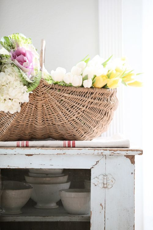 Dreamy Whites: Living Room, Gordon Hill Flower Shop, Ornamental Kale, and a French Apple Basket