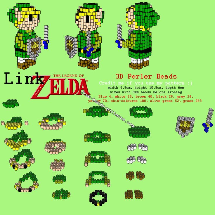 3d Link From The Legend Of Zelda Free Perler Beads Hama Beads Pyssla Pattern Download
