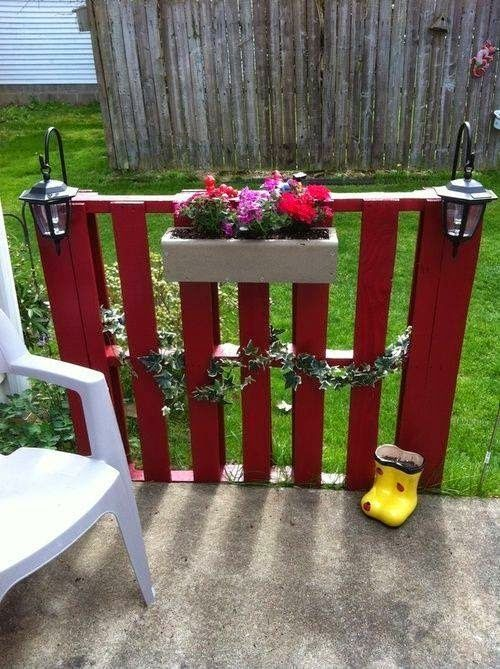 vertical pallet garden flower pot wooden fence outdoor lanterns