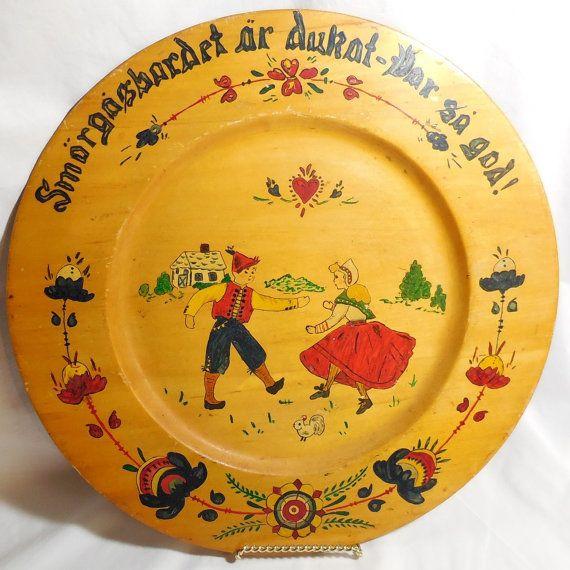 sold Vintage  Scandinavian Wood Plate  Swedish Folk Art by CraveCute