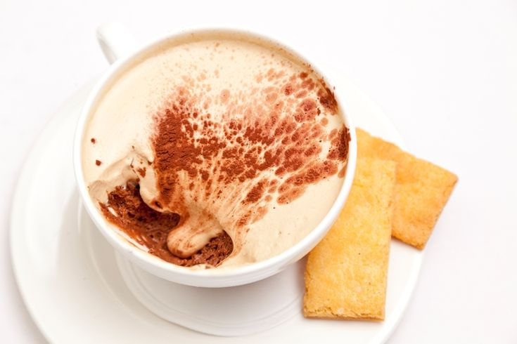 Pierre Koffmann presents an intense dark chocolate mousse as a cappuccino, topping with a rich coffee cream