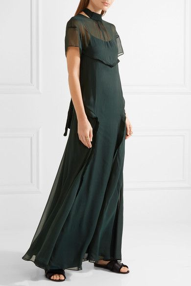 Cédric Charlier - Open-back Ruffle-trimmed Chiffon Maxi Dress - Emerald - IT42