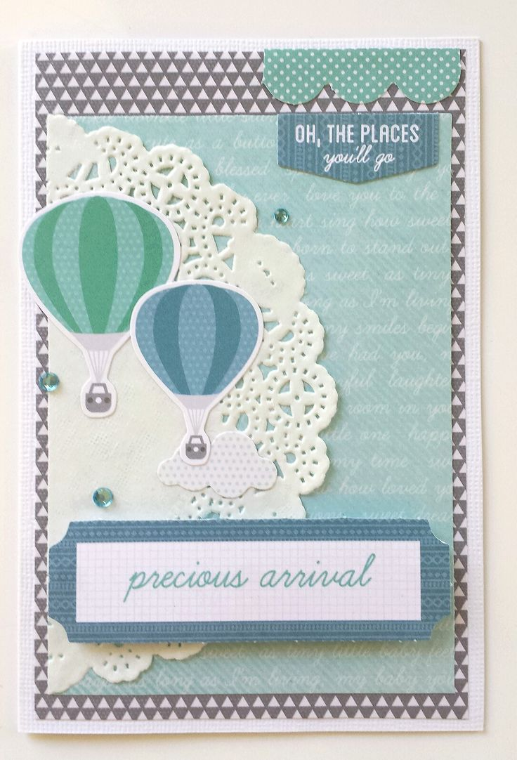 """""""Precious Arrival"""" Card for a Boy. by Amanda Baldwin for Kaisercraft 'Little One' collection - Wendy Schultz ~ Baby Cards"""
