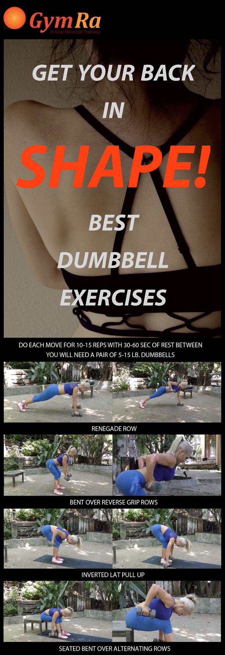 Lose back fat while slimming, sculpting, and strengthening your upper body. Get ready to rock strapless & backless numbers proudly! Do each move for 10-15 reps with 30-60 sec rest between. You will need a pair of 5-15 lb. dumbbells. #fitness #weightloss #fitspo #fitspiration