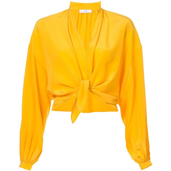 Tome Knotted Peasant Top ($495) ❤ liked on Polyvore featuring tops, blouses, marigold, knot blouse, tie front blouse, peasant blouses, orange top and orange blouse