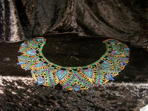 peacock collar. Saraguro beadwork