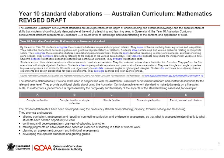 Year 10 Mathematics standard elaborations