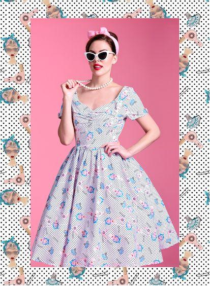 Deep Blue 2xl Vintage Halter Cherry Print Pin Up Dress   RoseGal.com