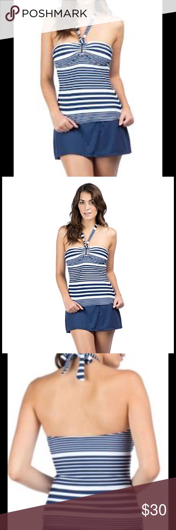 Chaps swimming Top Shirred Ring Front Bandini Gear up for beach season this summer with this shirred top from Chaps. To ensure the perfect fit, tops and bottoms are sold separately. Featured in blue Stripe tubini Silver ring Removable cups Removable/adjustable halter neck ties Shirred tummy Nylon / elastane Hand wash cold, use only non-chlorine bleach Hang dry, do not iron Imported Chaps Swim