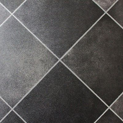 Dark Grey Tiles - Non Slip Vinyl Flooring Lino - Kitchen Bathroom