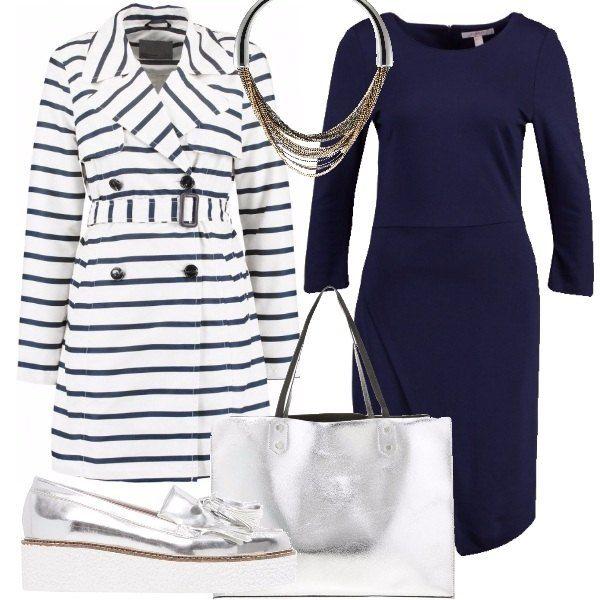Un abito blu navy di maglina dalla linea essenziale, un trench a righe, un paio di scarpe argento con para bianca e shopper metallizzata ed infine un collier semirigido sono alla base della mia proposta economica ma di classe.