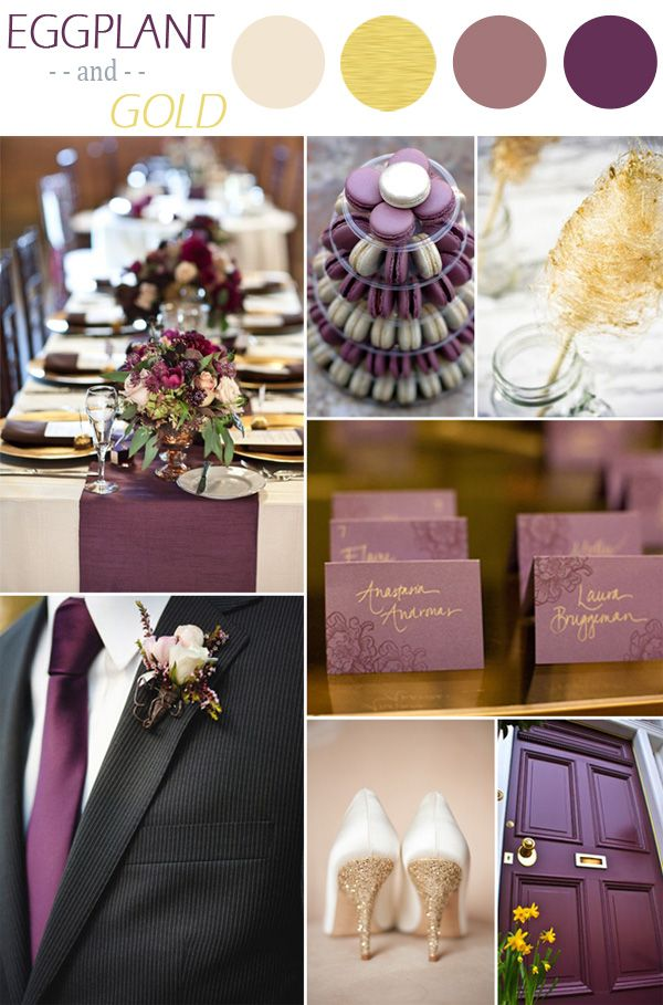 eggplant purple and gold fall wedding color ideas