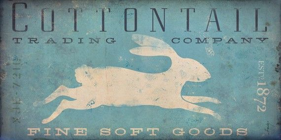 Cotton tail Trading Company (the blue, the faded fonts, the stylized rabbit)