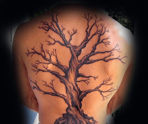 Awesome Oak Tree Mens Full Back Tattoo
