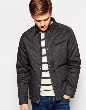 €191, Schwarze gesteppte Jacke mit Kentkragen und Knöpfen von Selected. Online-Shop: Asos. Klicken Sie hier für mehr Informationen: https://lookastic.com/men/shop_items/145598/redirect