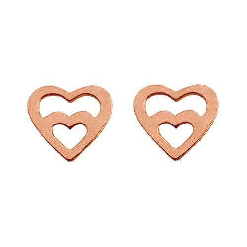Kolczyki z różowego złota z sercem. Cena:69zł. Kup na: https://laoni.pl/kolczyki-azurowe-serduszka-z-rozowego-zlota #serce #kolczyki #sztyfty #różowezłoto #złote