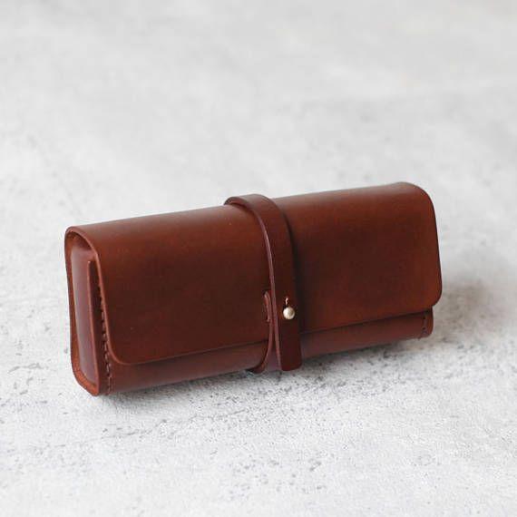 Cuir de tannage végétal marron foncé crayon cas/pen pochette /