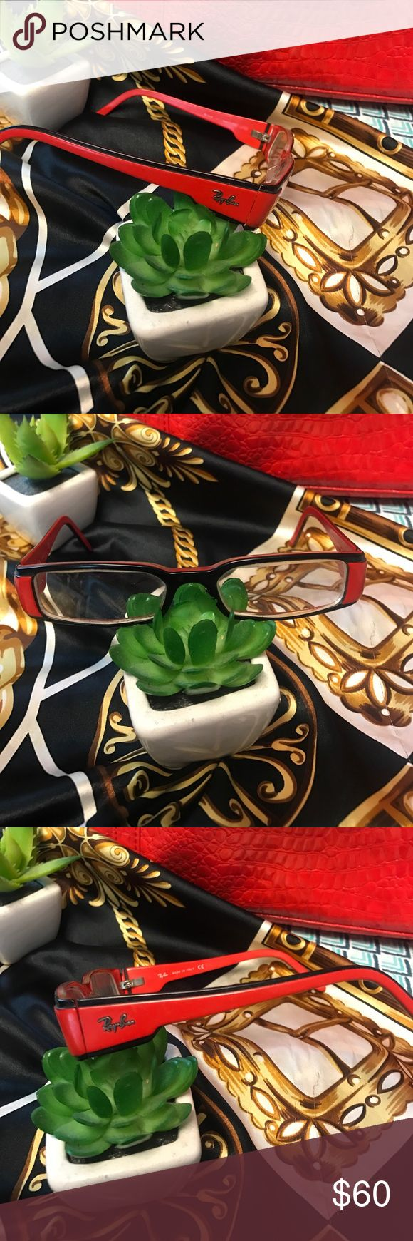🔥Ray-ban frames Fire engine red and black Ray-ban prescription frames. Purchase and have the lenses replaced with your own prescription and your me ready to kill the fashion game!🔥🔥🔥. I love the sexy secretary look these ones have🥂🥂🥂 Ray-Ban Accessories Glasses