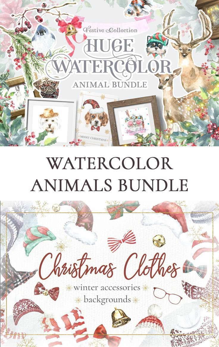Watercolor Animals Bundle 13 In 1 Christmas Woodland Animals