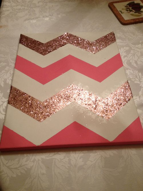 DIY Chevron Wall Art! What a cute idea! #diy #art #wall #glitter