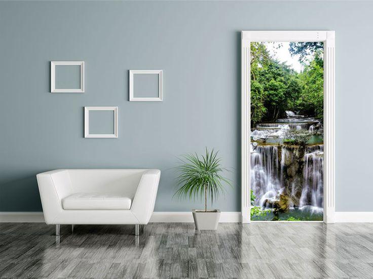 Poster de porte petite cascade : trompe l'oeil nature