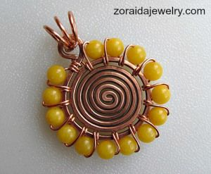 Sunshine Spiral Beaded Wire Pendant