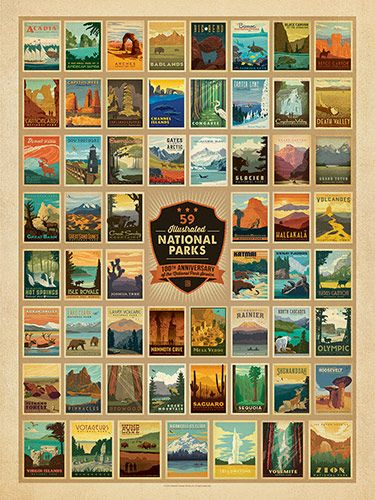100th Anniversary 59-image Print - After working for 5 years, we have produced 59 gallery prints—one for each of the 59 parks. And just in case you don't have room on your walls for all 59 prints, we've created this commemorative multi-image design that features each of the 59 posters on a single print! Celebrate the National Park Service's 100-year anniversary in style!<br />