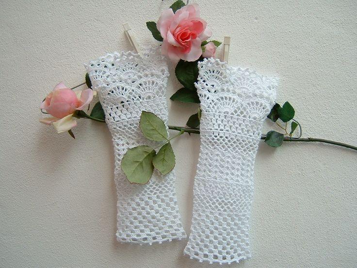 Polsini in romantico pizzo all'uncinetto-Manicotti in cotone bianco per matrimonio-Guanti da sposa e damigelle-Guanti bianchi senza dita