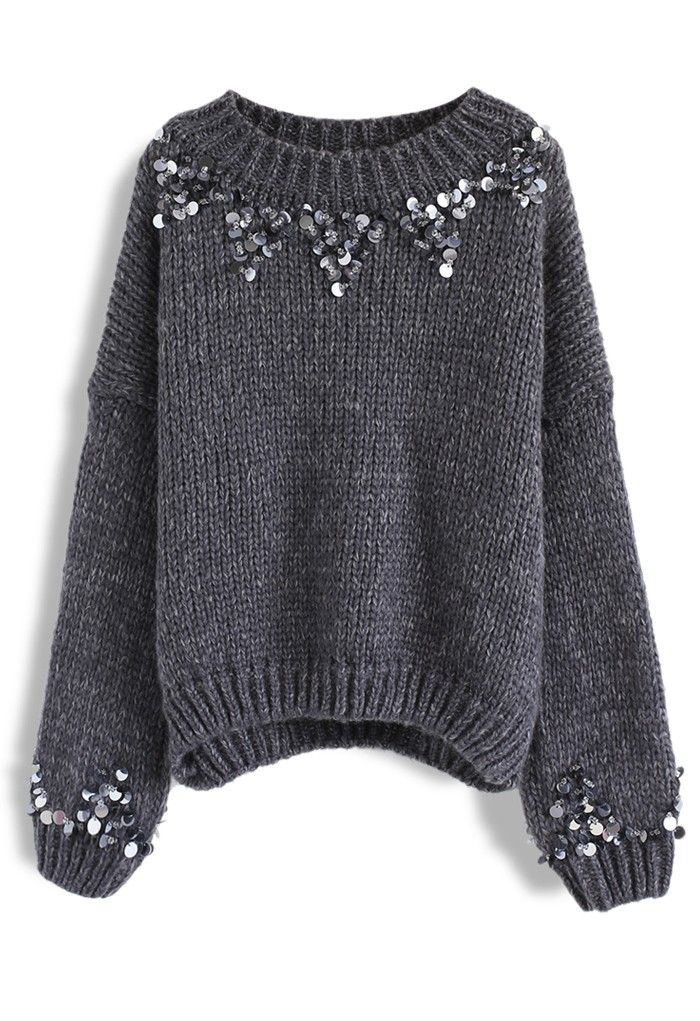 Focus on Sparkle Sequin Knit Sweater in Smoke – New Arrivals – Retro, Indie and Unique Fashion