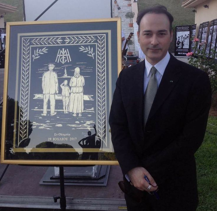Ioannis Vlazakis infront of his artwork in ancient Olympia 2017