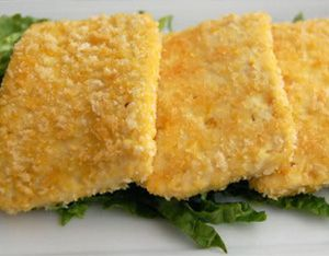 Baked Crispy Tofu  Yummers! Although I don't see how you can make 10 to 12 slices from one block of tofu.