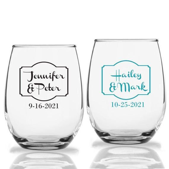 36 Wedding Wine Glasses Stemless Personalized Glass Wedding Favors Glassware Gif Wine Glass Wedding Favors Custom Stemless Wine Glasses Wedding Wine Glasses