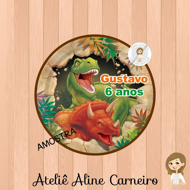 Adesivo Latinha Dinossauro - 5cm   Aline Carneiro- Loja 1   Elo7