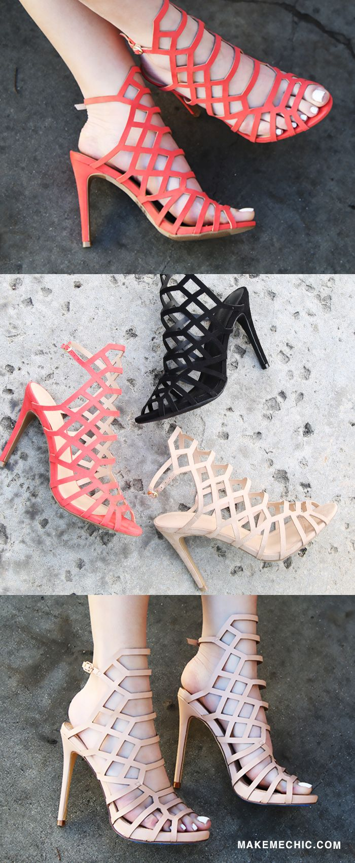 "Uh huh honey, the Honeycomb Stiletto Heels is sure to sweeten up any look! Features a peep toe, geometric honeycomb cut, and backless design. Topped off with a 4.5"" stiletto heel, adjustable ankle strap, and slightly padded insole for added comfort. Team with a luxurious vest for a glammed up vibe!"