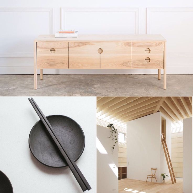 Japanese inspired moods - large Birch Noah Pedestal + MA-Style Architects home + japanese image from pinterest. Calm moods by Andrew Dominic Furniture - maker of designer wood furniture. Shipping worldwide.
