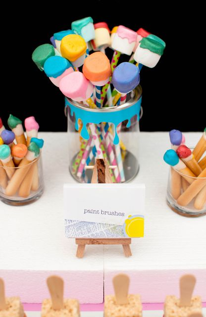 Marshmallow pops at an Art Party! See more party ideas at CatchMyParty.com! #partyideas #art