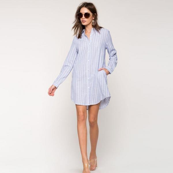 Pin Stripe Button Down Women's Short Shirt Dress