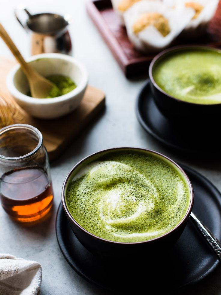 Need a mug of something cozy? There's nothing better than a matcha green tea latte. This latte is made dairy-free with almond milk and sweetened lightly with maple syrup.