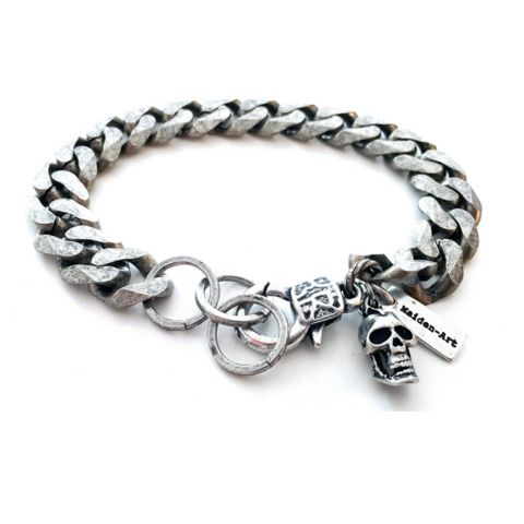 Silver skull and chain mens bracelet. Mens gift, Gift for Men.  Perfect for valentines day, valentines day gift- In 3 Colors. - Maiden-Art  - 1