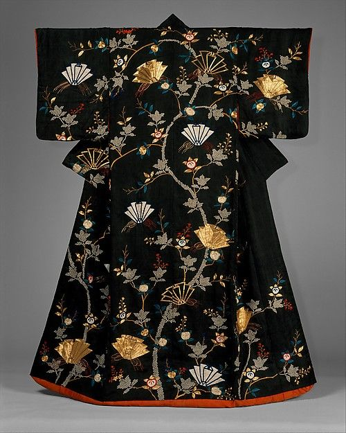 "Woman's Over-Robe (Uchikake) with Design of Mandarin Oranges and Folded Paper Ornaments, late 18th century. Japan. The Metropolitan Museum of Art, New York. Gift of Ilse Bischoff, 1976 (1976.108) | In traditional marriage ceremonies the uchikake is worn over the wedding kimono. Extra padding is inserted into the hem to provide a seamless flow of the train. | This kimono is on view in ""Kimono: A Modern History"" through January 19, 2015."